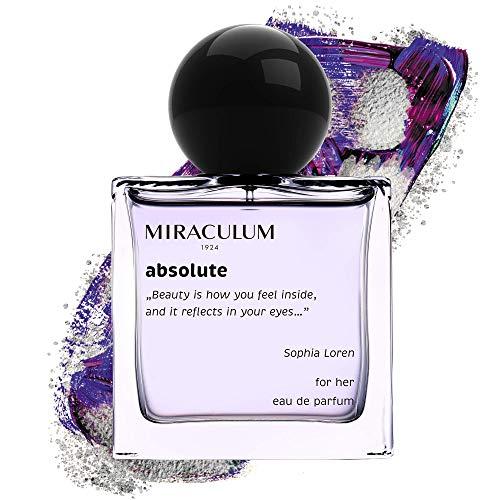 Miraculum Absolute Eau De Parfum für Damen – Parfüm für die mutige Frau – Flakon mit 50 ml – Duftende Noten von Himbeere, Grapefruit, Rosa Pfeffer, Grauer Amber – Geschenke für Teenager Weiblich