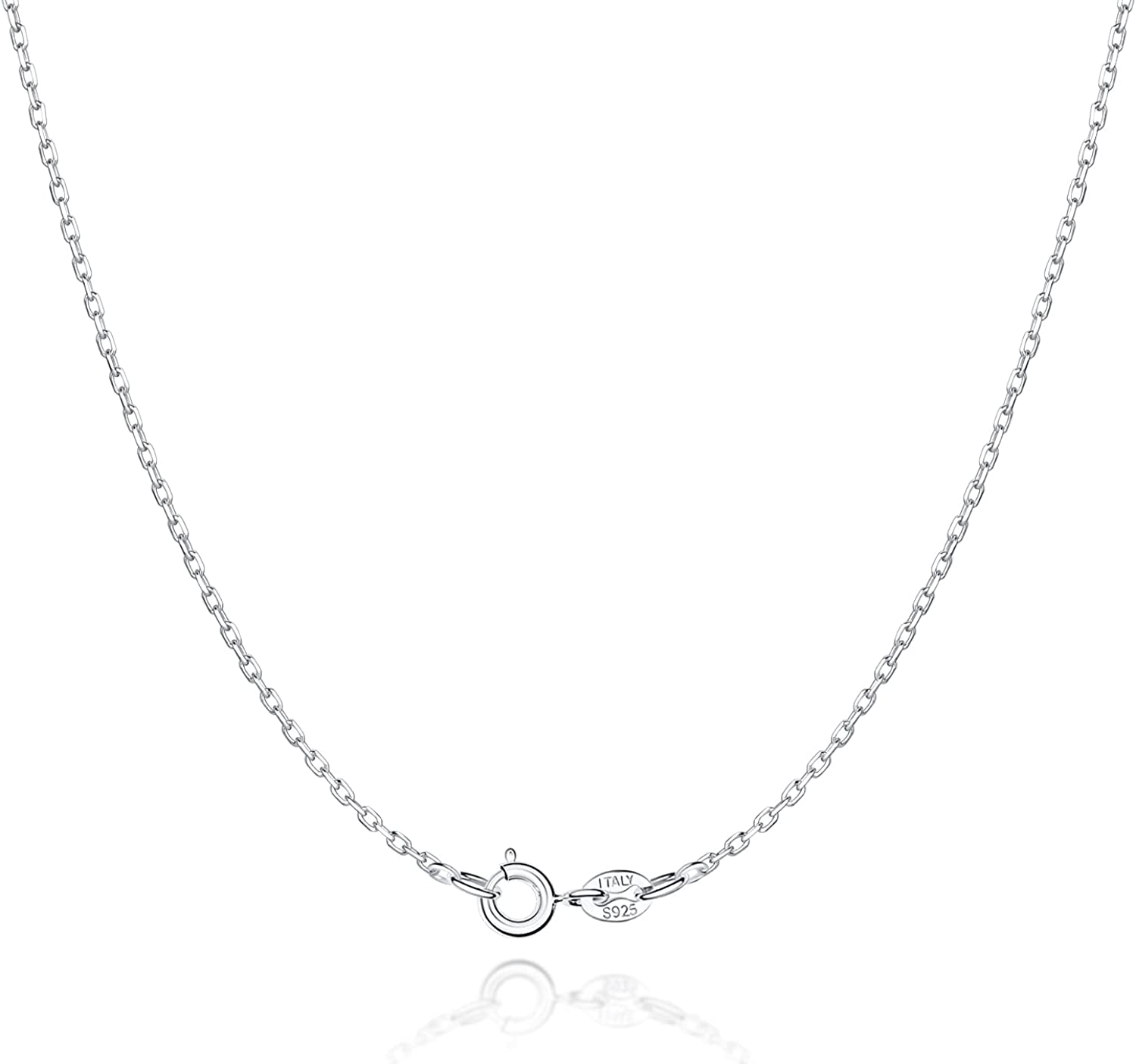 Jewlpire 925 Sterling Silver Chain Necklace for Women & Girls 1.3mm Cable Chain Italian Thin Silver Necklace Chain Perfect Replacement Chain Necklace - Super Sturdy & Shiny & 16 Inch: Clothing, Shoes & Jewelry