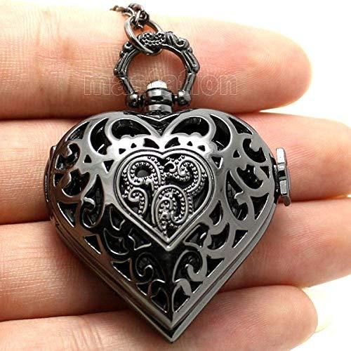 LXDDP Reloj de Bolsillo Moda Ahueca hacia Fuera el Amor corazón Vintage Collar de Cadena Que se Puede Abrir Reloj de Bolsillo