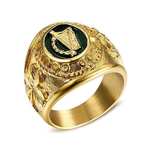 BOBIJOO JEWELRY - El Anillo De Sellar De Irlanda del Arpa Shamrock Broche De Tara Irish God Country Acero De Oro - 22 (10 US), Dorado - Acero Inoxidable 316