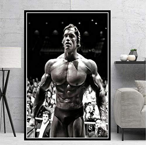 MXIBUN Cartel e Impresiones Arnold Bodybuilding Gym Estrella Cuadro de Arte de pareds Lienzo Pintura Regalo sin Marco 50 * 70 cm
