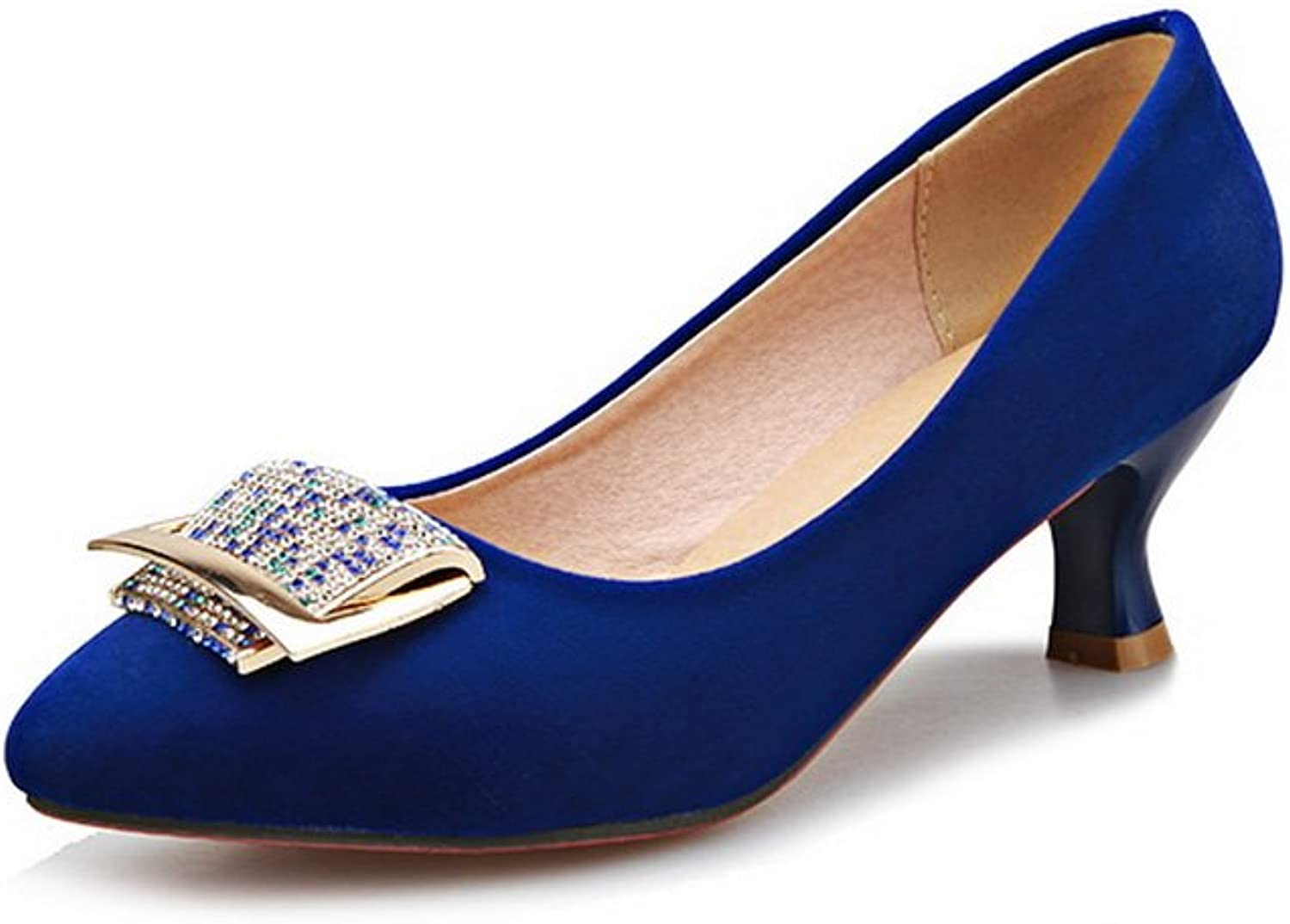 1TO9 Ladies Metal Ornament Pull-On Low-Cut Uppers bluee Imitated Suede Pumps-shoes - 7.5 B(M) US