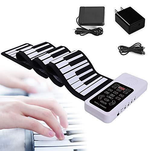 【最新日本語表記パネル&フルタッチ式】ロールピアノ 88鍵盤 初心者 子供用 ロールアップピアノ 折り畳み Bluetooth機能搭載 128種類音色 128種リズム 15デモ曲 録音再生機能付き 持ち運び便利 フットペダル付き 日本語取扱説明書付き