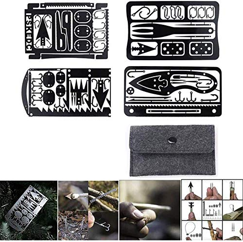Xcvbnm Survival Multi Tool Card,4pcs 22 in 1 Survival Kit Camping Outdoor Emergency Gear Tool Fish Hook Card Durable Fishing Rigs Portable Fishing and Hunting Tool Card (4pcs Black)
