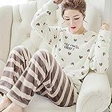 Pyjama Damen Nachthemd Schlafanzug Dicke Warme Flanellpyjamas-Sets Für Frauen Winter Langarm Coral Velvet Pyjama Mädchen Niedliche Homewear Pyjama M 14