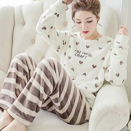 Pyjama Damen Nachthemd Schlafanzug Dicker Warmer Flanellpyjama-Sets Für Frauen Winter Langarm Coral Velvet Pyjama Mädchen Süße Homewear Pyjama XXL 14