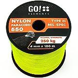 GO!elements 100m Paracord de Nylon a Prueba de desgarros - 4mm Paracord 550 Typo III Cuerda - Adecuado como Cuerda Yute & Cuerda Gruesa | MAX. 250kg, Color:Neon