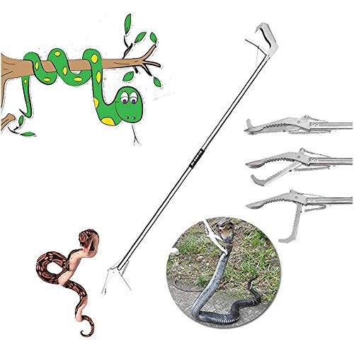 WSJS Serpiente Catcher portátil Plegable Extra para Trabajo Pesado de la Serpiente de la Serpiente Protección Ganchos Pinzas de Control de plagas Bite Protección Trampas 100cm