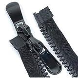 STK ファスナー ダブルジッパー 上止め ダウンジャケット バッグ 修理 DIY 縫製用 手芸素材 黒 (120CM, 1本セット)