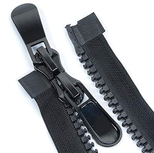STK ファスナー ダブルジッパー 上止め ダウンジャケット バッグ 修理 DIY 縫製用 手芸素材 黒 (150CM, 2本セット)