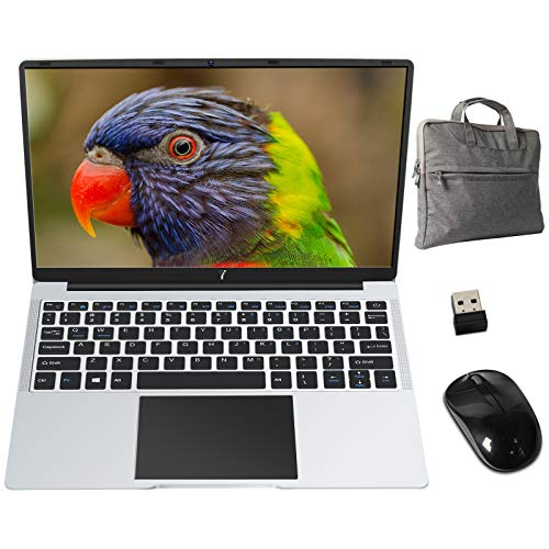 PC Portatile 14.1 Pollici FHD 1920 x 1080 B2 Notebook con Intel Celeron 6 GB RAM 64 GB SSD Windows 10 64 Bits, Supporta SD/TF 512GB, WiFi | Webcam | Bluetooth | HDMI, con Mouse e Borsa PC, Argento
