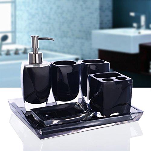 Dusche dispenser,Harz Drücken sie die flasche seife,Seife flaschen Gel-duschkabine Shampoo box Set-Schwarz A