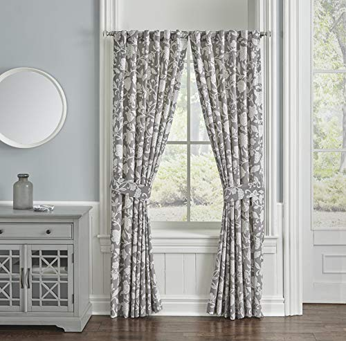 """Waverly Stencil Vine Rod Pocket Curtains for Living Room, Double Panel, 100"""" x 84"""", Charcoal"""