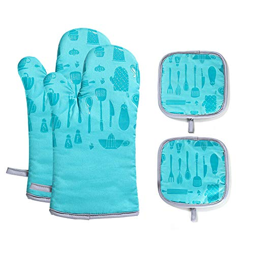 VANORIG Oven Mitts and Potholders Sets 4pcs 500°F Heat Resistant Oven Gloves with Terry Lining...