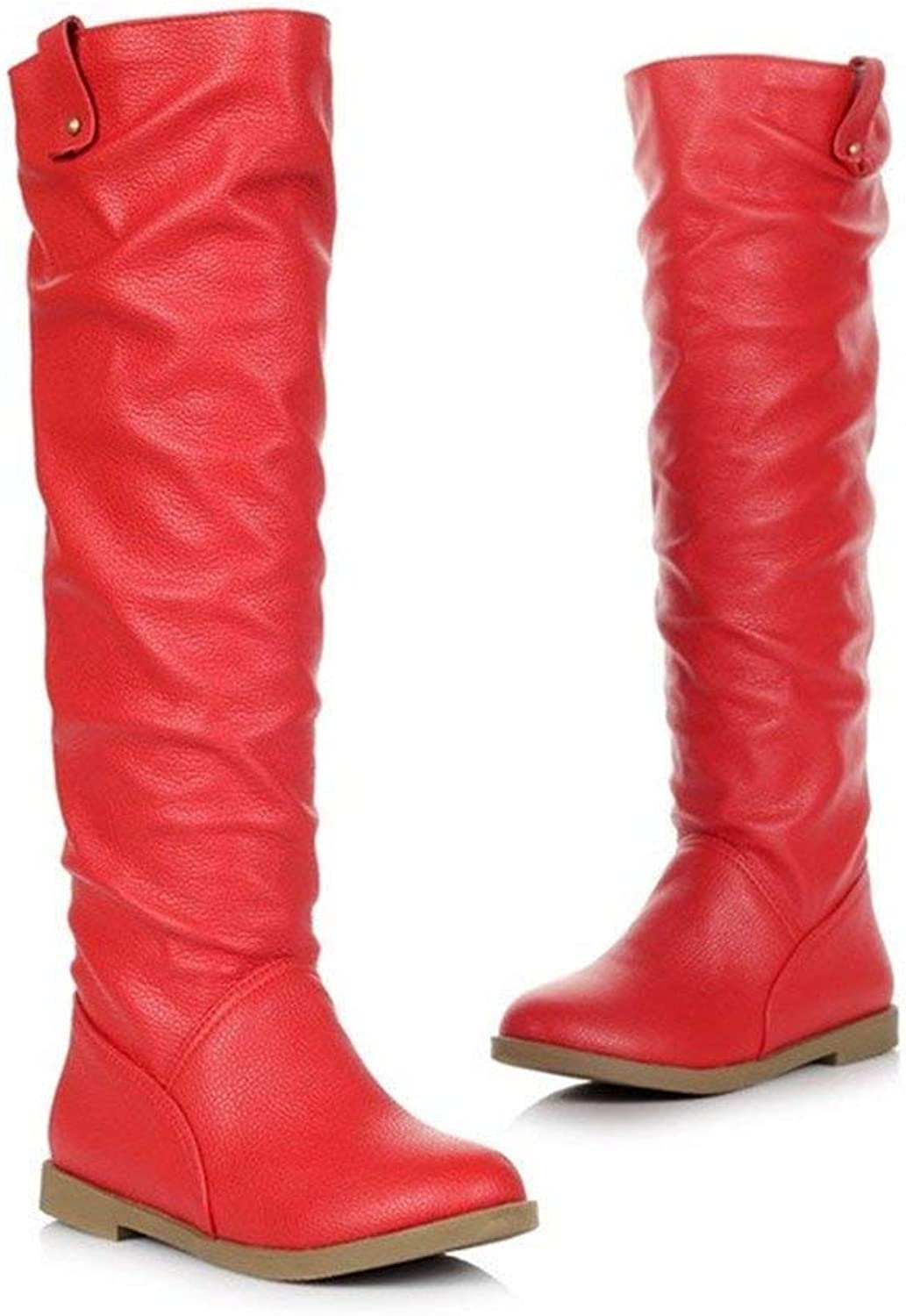 Women's Knee High Round Toe Slouch Shaft Low Heel Faux Leather Flat Boots