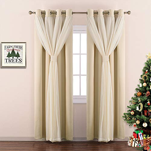 NICETOWN Nursery Crushed Voile Sheer x Solid Blackout Curtain Panel Set Room Darkening with Tie-Backs for Kids Room, Girls Princess Style Drapes (2 Pieces, W52 x L84 inch, Biscotti Beige)