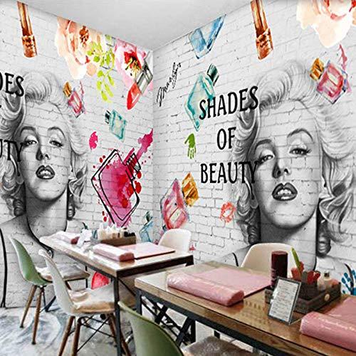 Fotobehang 3D,Mode Baksteen muur Cosmetica Schilderen Fresco Manicure Winkel Kleding Winkel Achtergrond 3D Art Muurpapieren 280 cm (B) x 180 cm (H)