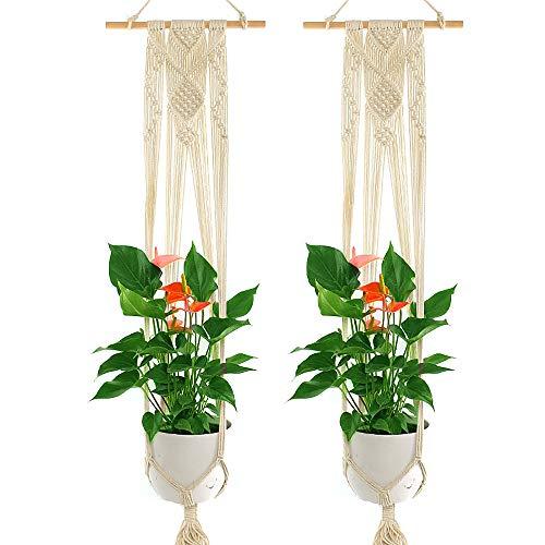 YANGMAN Plante macramé Hanger, Usine de Fleur Manique Corde de Coton Suspendu Planteur Panier, avec 30 cm de bâton en Bois, pour intérieur, extérieur, décoration, 120 cm,2pcs