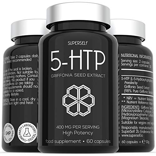 5HTP High Strength 400mg - 60 capsules - 400mg 5-HTP Serving from 410mg Pure & Undiluted 1:1 Griffonia Seed Extract - 5 HTP Supplement
