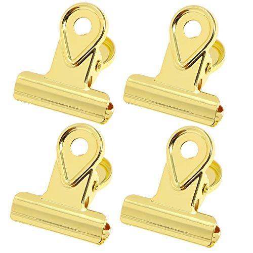 Toyvian 20 stücke Metall scharnierclips Binder Clips papierklammer Kupfer Bulldog büroklammern-Gold (20mm)
