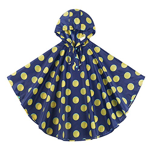 Spring Fever Girls Kids Toddler Hooded School Backpack Rain Ponchos Jacket Raincoats Blue Yellow M (Fit 39.4