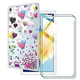 LKJMY para Huawei Honor Pad 7 10.10 Tableta Funda + 2 Piezas Cristal Templado,Transparente Carcasa Silicone Case Bumper,Anti-Golpes Cover Anti-Rasguño Cover Caso,Vidrio Templado-LKJA12