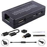 GeeekPi Raspberry Pi Zero/Zero W Case, 7 in 1 Basic Starter Kit with Raspberry Pi Zero Heatsink, 20Pin GPIO Header, OTG Cable, Switch Cable, HDMI Adapter and Screwdriver (Black)