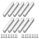 Margueras - 10 tiradores de armario de cocina, mueble cajón de dormitorio, puerta (96 mm, plata)