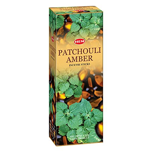 Patchouli Amber - Box of Six 20 Stick Hex Tubes - HEM Incense Hand Rolled In India
