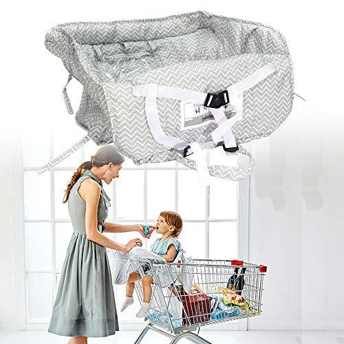 Funda para carrito de la compra, universal, para trona y cesta de la compra, cojín con bolsa de transporte, lavable, organizadores suaves, seguridad infantil (gris)
