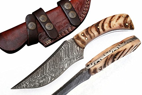 Handmade Damascus Steel Hunting knife 8.5' With Leather Sheath G-1066_R