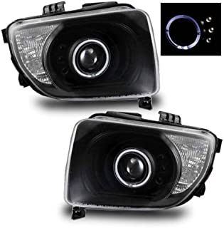 SPPC Projector Headlights Black Assembly with Halo for Honda Element - (Pair) Driver Left and Passenger Right Side Replacement Headlamp