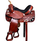 HILASON 16 in Western Horse Saddle American Leather Treeless Trail Barrel