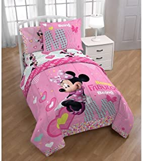 Minnie Mouse 7-Piece Full Pink Hearts Comforter and Sheet Set Bedding Collection with Blankets, Pillowcases, Sham and Coloring and Activity Book, 2018