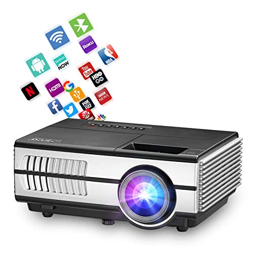 Upgraded Android 7.1 Projector,Portable Wifi Bluetooth Projector with Zoom 4D Keystone Wireless Airplay to Laptop Smart Phone Windows,LED Video Projector for Fire TV DVD Player PS4 HDMI USB AV