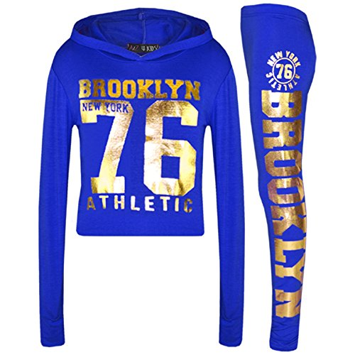 A2Z 4 Kids® Mädchen Top Kinder Designer Brooklyn New York 76 Athletic - Brklyn Hooded Crop Set Royal Gold 11-12