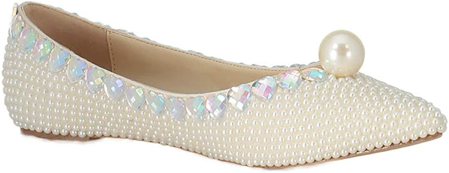Lacitena Spring Wedding Slip On Women Flat shoes Crystals