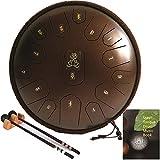 ailayveqi tamburo in acciaio, tono d 15 note 14 pollici tamburo a mano, steel tongue drum, strumento a percussione tankdrum con bacchette&borsa per bambini o adulti(bronzo)