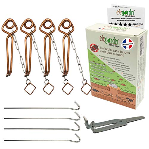 elegardn Kit completo 4 trappole per talpe topo campagnolo arvicola Tipo Putange rigido Alta qualità utilizzata da professionisti realizzato in Francia