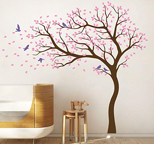 Tree Wall Decal Large Tree Wall Sticker Forest Mural Tree Blowing in The Wind Tree Wall Decals Wall Sticker Nursery Decals 098 (Brown, Soft Pink, Lavender)