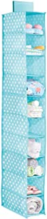 mDesign Soft Fabric Over Closet Rod Hanging Storage Organizer with 10 Shelves for Child/Kids Room or Nursery - Polka Dot P...