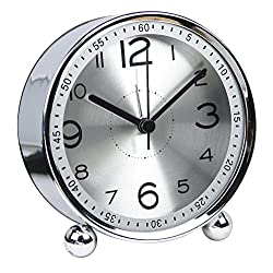 chengsan Alarm Clock,4 inch Table Clock,Ultra-Quiet Metal Small Clock with Night Light,Classic Retro Style Quartz Clock, Desk Cupboard Bedside Travel Alarm Clock(Silver)