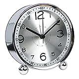 chengsan 4-inch Table Clock Ultra-quiet Metal Small Alarm Clock, Classic Retro Style Quartz Clock, Desk Cupboard Bedside Travel Alarm Clock (Silver)