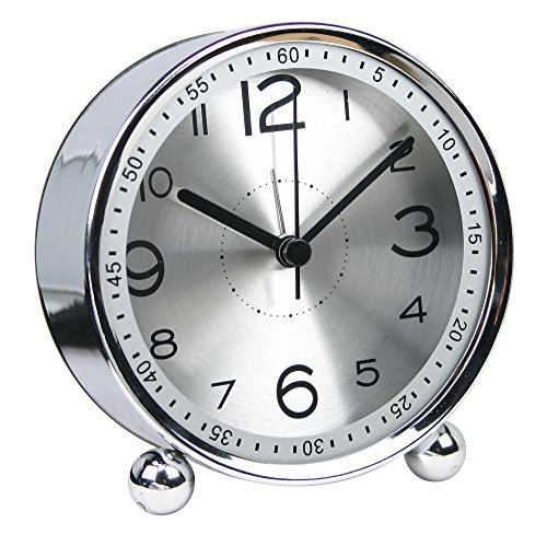 4-inch Table Clock Ultra-Quiet Metal Small Alarm Clock, Classic Retro Style Quartz Clock, Desk Cupboard Bedside Travel Alarm Clock (CS-AC06)(Silver)