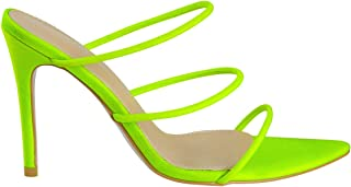 Women's Fashion Strappy High Heel Mules Sandals - Pointy Open Toe Slipper