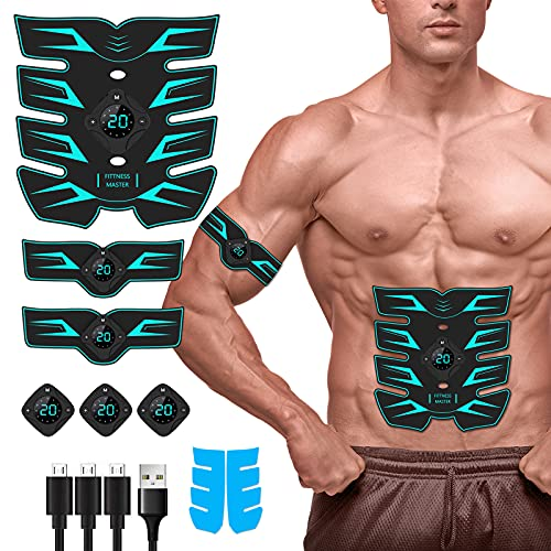 pads for muscles Abs Stimulator for Women Men, 2021 Upgraded Magnetic Ultimate Abs Muscle Stimulator with Extra Replacement Gel Pads for Abdomen/Arm/Leg/Back Training, Portable Abs Workout Equipment at Home Gym Office