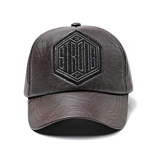 Nuevo Sombrero de Cuero PU para Hombre, Gorra de béisbol Hip-Hop Americana, Gorra cálida con Bordado de Letras de Moda