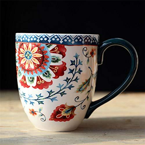 IRCATH Retro mok koffie - mok cadeau - mok - grote capaciteit beker mooie landhuisstijl bierglas sap glas extra groot glas melkglas kantoorbeker 850ML