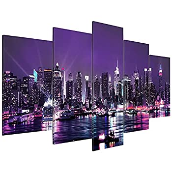 BATEER 5 Piece Frameless New York Canvas Wall Art Large Wall City Landscape Wall Art Painting Decor for Home Living Room Bedroom