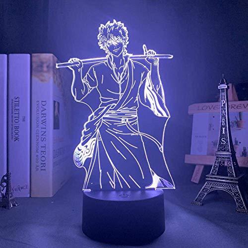 Lámpara de ilusión 3D Luz de noche Led Anime Gin Gintoki Sakata Kid Boy Regalo de cumpleaños Dormitorio Accesorios de mesa de noche